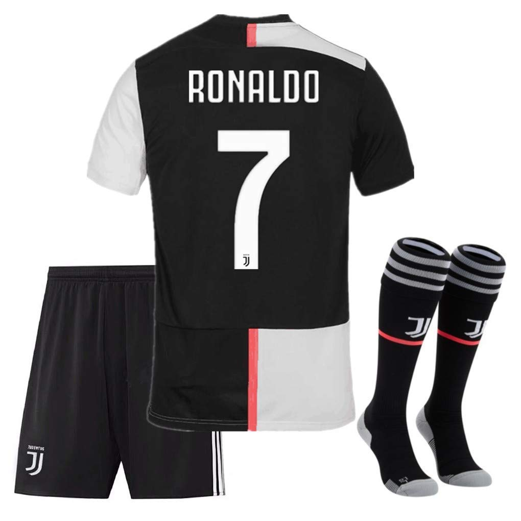 2019/2020 New Juventus #7 Ronaldo #10 Dybala Home Soccer Jersey & Shorts & Socks Kids/Youth(7-8Y/size 22 B/White07)
