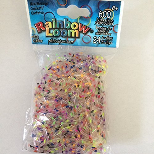 Rainbow Loom Authentic Confetti Jelly Bands   600 Bands & 24 C-Clips   Limited Edition   Multi-color Polka -