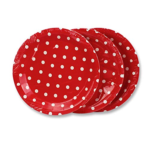 (Red Polka Dot Paper Plates 36pcs - 9inch Biodegradable Round Party Plates for Cakes, Dessert, Snack, Fruits)