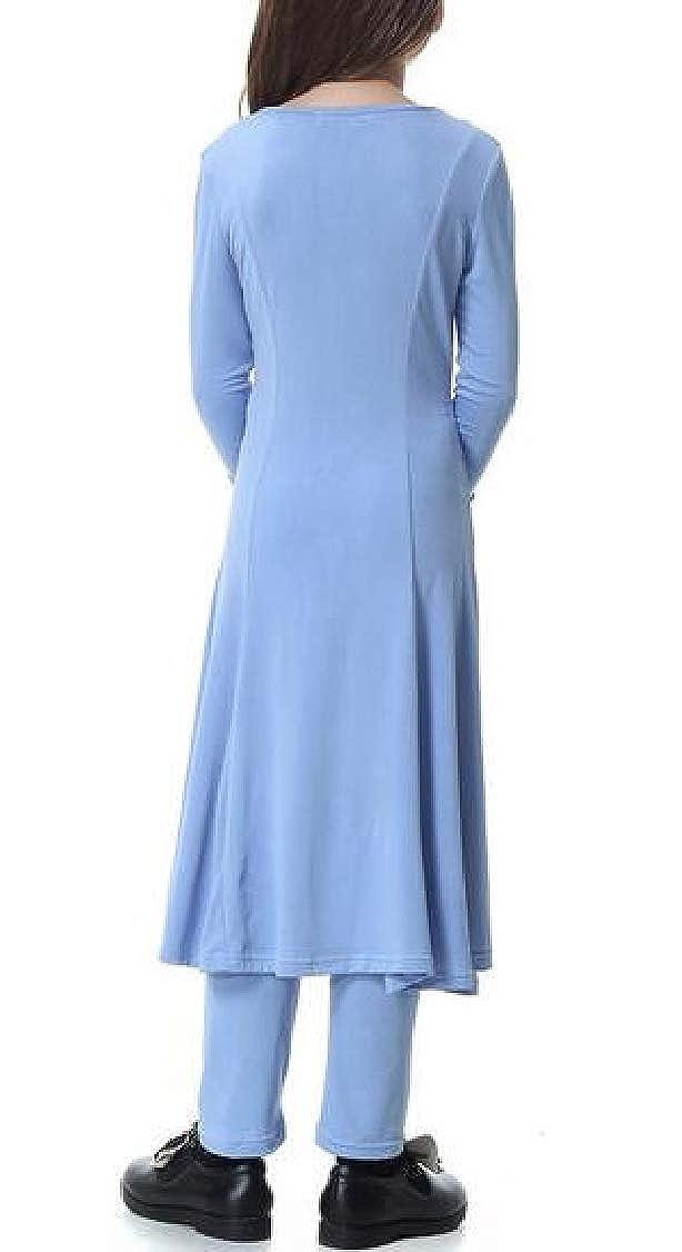 pipigo Girls Set Pants Muslim Arabia 2 Pieces Dubai Swing Dress