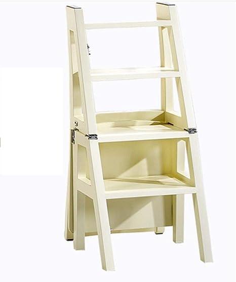 WYZBD Escalera hogar Escalera escaleras Plegables de Doble Uso butaca Taburete de Madera sillas de Escalera: Amazon.es: Hogar