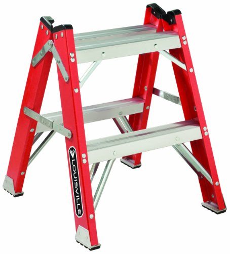Louisville Ladder L-3433-02 Fiberglass Twin Front Step Stool, 375-Pound Load Capacity