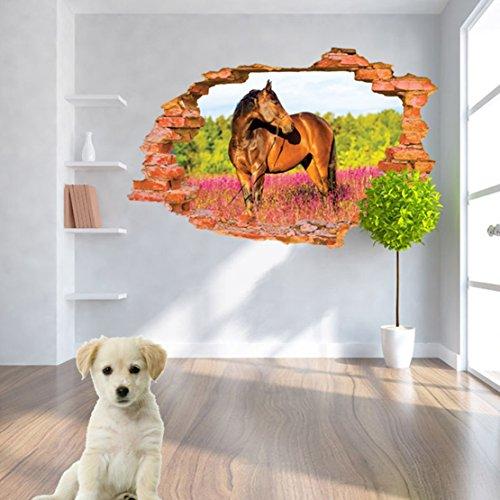 U-Shark 3D Running Horse Self-adhesive Removable Break Through the Wall Vinyl Wall Stickers / Murals Art Decals Decorator (8001H(60 x 90cm))