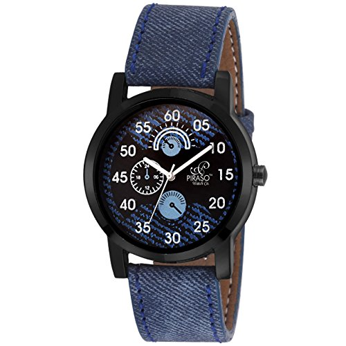 Piraso Denim Analog Watch for Men Blue