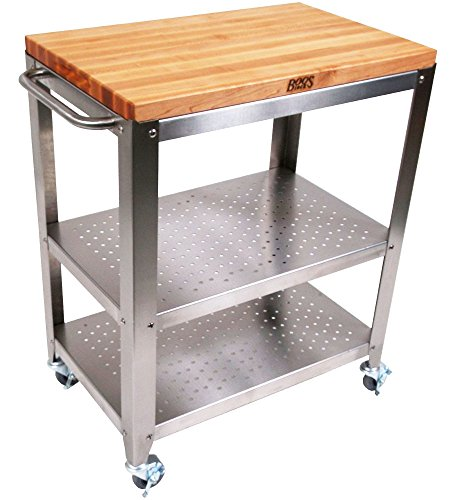 Kitchen Maple Kitchen Island (John Boos Culinarte Stainless Steel Kitchen Cart with 30 by 20 Inch Removable Maple Cutting Board Top, Stainless Steel Shelves and Casters)