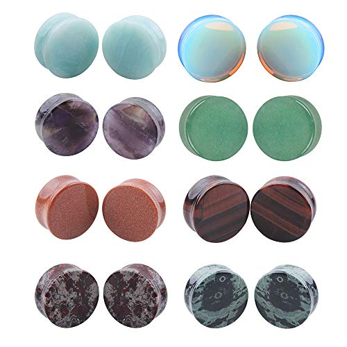 8 Pairs Natural Mixed Stone Ear Plugs Piercing Set Double Flared Saddle Expander Body Jewelry (22mm=7/8'')