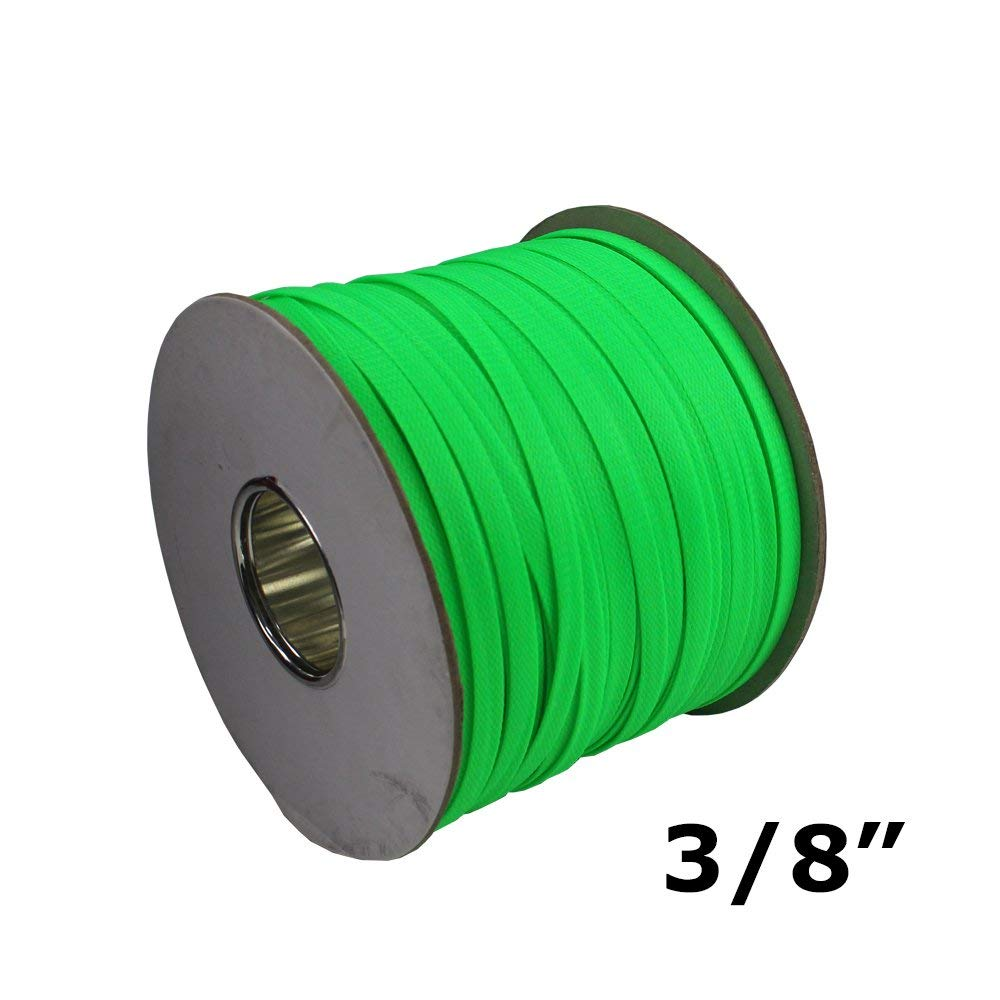 PET Braided Wire Sleeving Extremely Lightweight Flexibility & Expansion Protect Cables 10mm=3/8'' Diameter Green 30ft