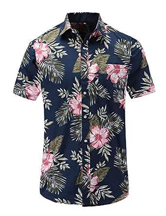 JEETOO Mens Hawaiian Shirt Short Sleeve Floral Shirts (Blackpink S)