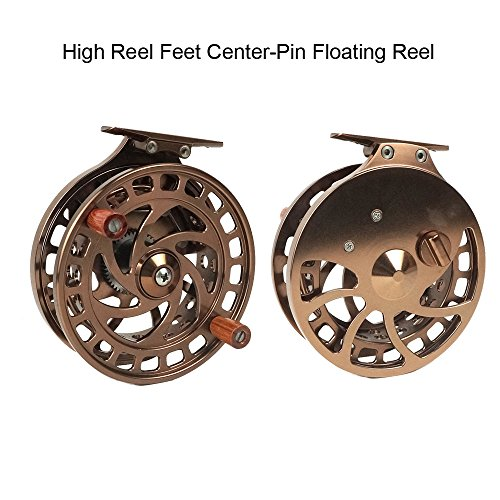 tion High Reel Feet Center-Pin Floating Reel CNC machined Easy Line through (Coffee) ()