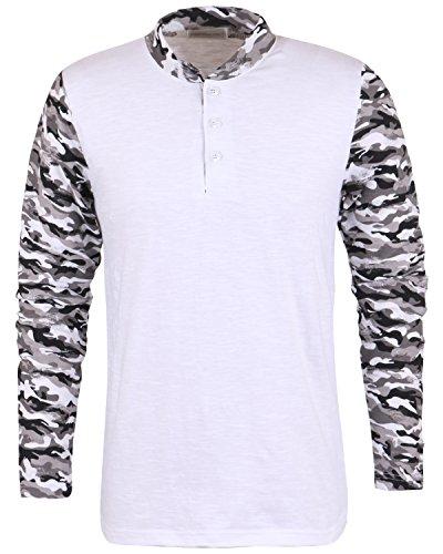 ililily Soft Cotton Distressed Camo Pattern Vintage Shawl Henley T-shirt Top (tshirts-223-1-L)