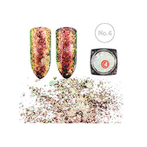 LandFox Chameleon Nail Sequins Glitter Dust Dazzling Transparent Paillette Manicure Nail Art Glitter Sheet Decorations (D) -