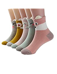 Little Girls Socks Cotton Animals Comfort Thick Socks 5 Pair Pack