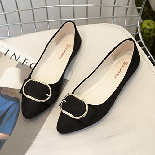 Amiley Low Heel Flat Shoes, Women Suede Belt Buckle Flat Heel Pointed Toe Casual Office Shoes Black