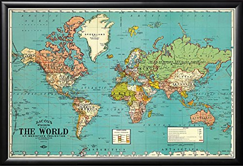 FRAMED BACONS STANDARD MAP WORLD VINTAGE