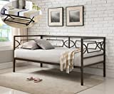 Vegas Pewter Twin Size Metal Day Bed Frame With Black Pop-Up High Riser Trundle, Headboard, Footboard, Rails & Slats (Twin Daybed & Trundle)