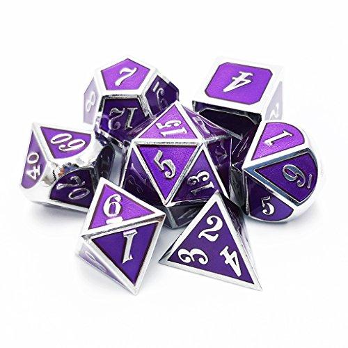 Haxtec 7PCS Zinc Alloy Metal Dice Set D&D Dice D20 D12 D10 D8 D6 D4 for Dungeons and Dragons DND RPG MTG Table Games-Glossy Enamel Dice Royal (Purple Metal)
