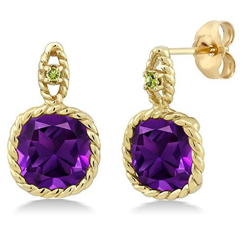 10k Yellow Gold Amethyst Earrings - 4.14 Ct Cushion Purple Amethyst Green Simulated Peridot 10K Yellow Gold Earrings