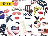 Photo Booth Props Kit for Independence Day, Wedding, Birthday, Party - Happy 4th of July DIY photo booth Fun Accessories[40 Pcs]