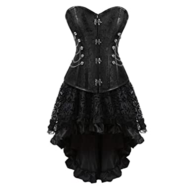 e9b408b404 Women's Steampunk Corset Dress Festival Costume Gothic Corset Skirt Set:  Amazon.co.uk: Clothing