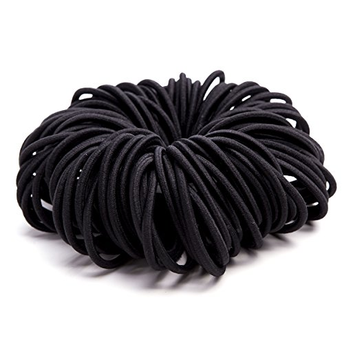 (Ezerbery 120 PCS Black Hair ties No Crease Ouchless Ponytail Holders No metal Hair Bands hair Elastics Soft Rubber Bands, 4mm)