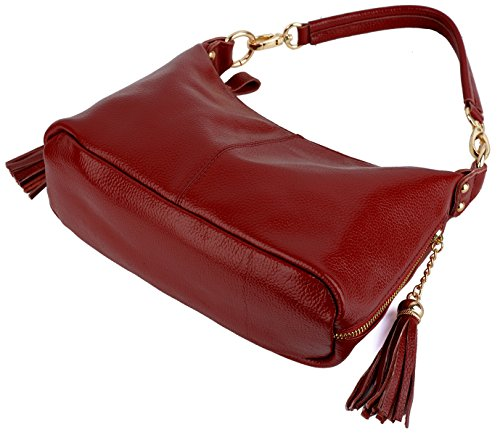 Yaluxe Women's Zippered Pockets Handbag Handle Bag Cross Double Small Red Body Shoulder Leather Top rrqdSpx