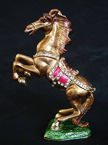 Feng Shui Import Bejeweled Cloisonne Brown Windhorse Statue