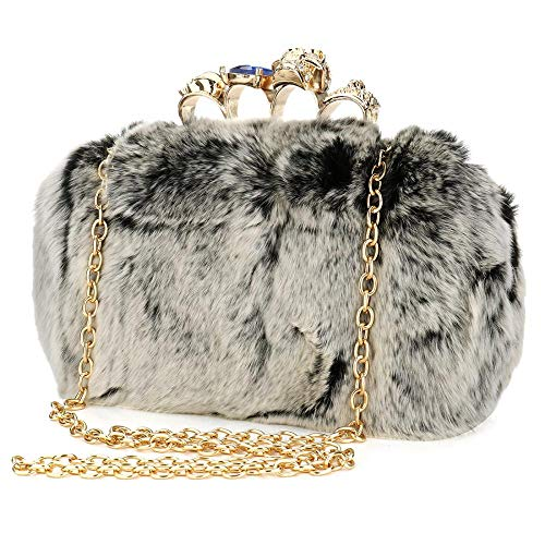 EROUGE Faux Fur Evening Purse Bag Retro Women Handbag with Skull Crystal Designer Clutch, Grey, One Size