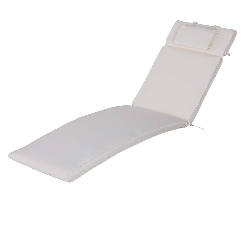 Bianco 198x53x5cm Outsunny Cuscino per Sdraio Lettino Prendisole da Giardino