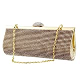 TOPCHANCES Upgrade Large Size Women Rhinestones Crystal Evening Clutch Bag Party Prom Wedding Purse iPhone 7s/iPhone 8/iPhone X (Gold)