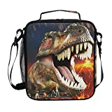 ZOEO Boys Dinosaur Lunch Box 3D Insulated Lunch Bag Prep Kids Cooler Blue Tote Freezable Shoulder Strap Waterproof Picnic Meal for School Office