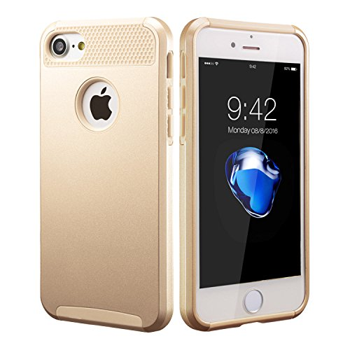 for iPhone 6 6S 8 7 Plus X Case Hybrid Hard Heavy Duty Shockproof Rubber Cover (Gold, iPhone 6/6s Plus)