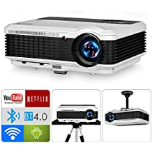 Wireless Bluetooth Video Projector HD 1080P Support,3900 Lumen LCD LED Multimedia Outdoor Movies Gaming Projector Home Theater Cinema with HDMI USB Audio VGA  Speakers for PC DVD TV Box iPhone Laptop