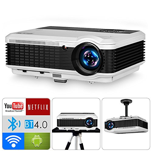 LCD Bluetooth Wireless Projector for Video Gaming HD 1080P-3900lumens LED Smart Android WiFi Home Theater Projectors-HDMI USB Audio in/out AV VGA inbuilt Speaker for DVD Smartphone Laptop TV Box Wii