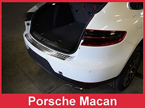 (2014 - 2017 Porsche Macan - Brushed Stainless Steel Rear Bumper Protector Guard)