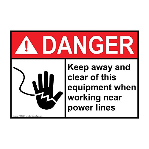 (ComplianceSigns Aluminum ANSI DANGER Keep Away Clear This Equipment Power Lines Sign, 14 X 10 in. with English Text and Symbol, White)