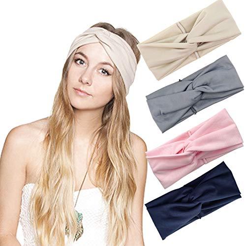 DRESHOW Cross Headbands Vintage Elastic Head Wrap Stretchy Moisture Hairband Twisted Cute Hair Accessories (4 Pack Cross Cloth: Grey, Pink, Khaki, Navy) (Khaki Accessories : Womens Clothing)