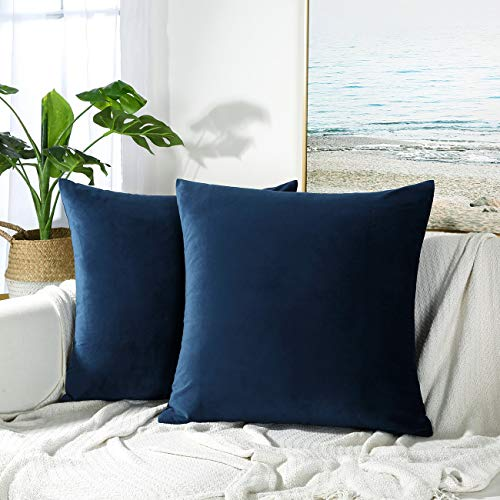 JUSPURBET Decorative Pillow Covers,Pack of 2 Velvet Throw Pillows Cases for Couch Bed Sofa,Soild Color Soft Pillowcases,16x16 Inches,Navy -