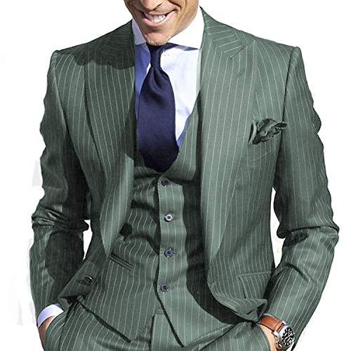 JYDress Men's Pinstripe Suit Slim Fit Stripe Peaked Lapel Jacket Vest Pants Sets Green