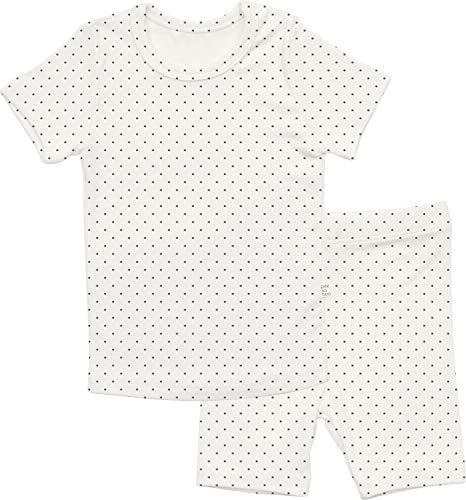 AVAUMA Newborn Baby Little Boys Snug-Fit Polka Dot Pajamas Summer Short Sets Pjs Kids Clothes (XS/White) (Kids Clothes Cotton)