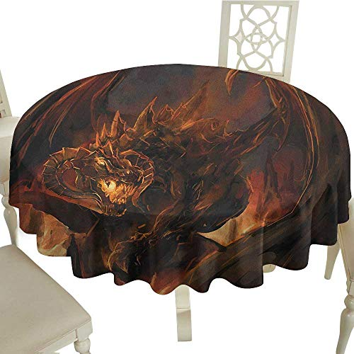 summer round tablecloth 70 Inch Dragon,Demonic Angry Molten Dragon with Horns Burning in Flames Imaginary Inferno Beast Yellow Brown Great for,family,outdoors,restaurant,Party,Wedding,Coffee Bar,trave -