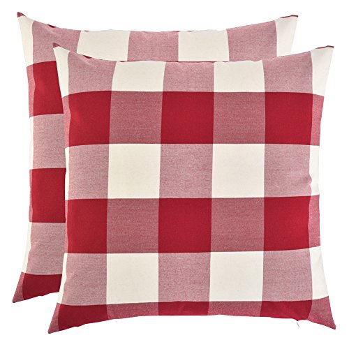 Set of 2, Artcest Decorative Cotton Blend Dyed Bed Throw Pillow Case, Sofa Durable Plaid Pattern, Comfortable Couch Cushion Cover (Burgundy, 18 X 18 (Plaid Decorative Pillow)