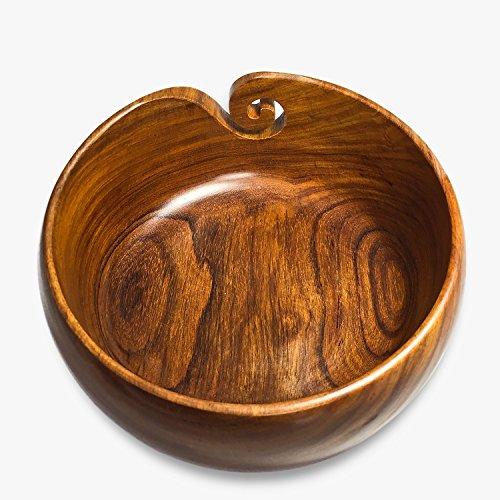 Premium Wooden Yarn Bowl 8''X4'' Large, 2 Crochet Hooks Bundle by YARN STORY (Image #3)