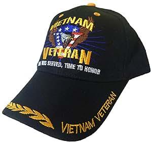 Vietnam Veteran Hat and Sticker Black Time Served Army Navy Marines