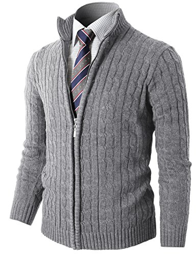 H2H Mens Slim Fit Full-Zip Kintted Cardigan Sweaters with Twist Patterned LightGray US S/Asia M (KMOCAL032) ()