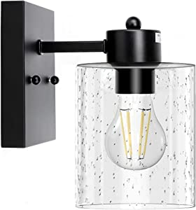 Depuley 1-Light Matte Black Wall Sconces Light Fixtures, Bathroom Industrial Vanity Lighting, Vintage Farmhouse Wall Mount Lamp with Bubbled Glass Shade for Mirror Hallway Kitchen Bedroom, E26 Base