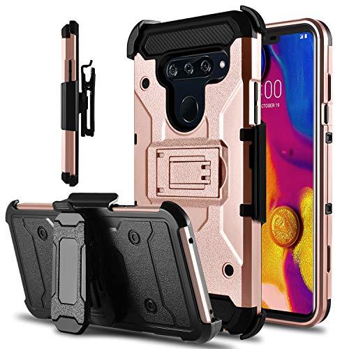 LG V40 Case, LG V40 ThinQ Case, Tevero Kickstand [Heavy Duty Protection] Hybrid Swivel Belt Clip Holster Rugged Full Body Armor Protective Shockproof Phone Case Cover for LG V40 (Pink)