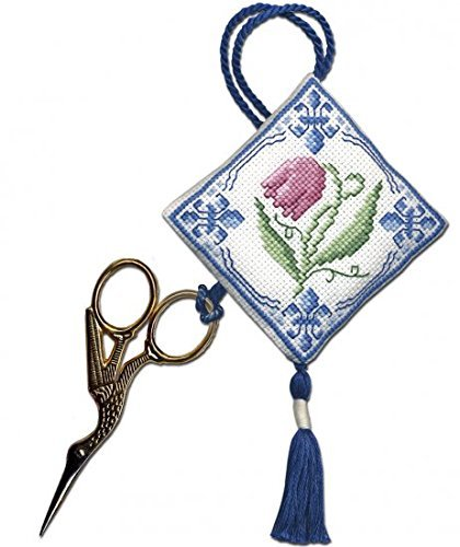 Textile Heritage Scissor Keep Cross Stitch Kit - Delft Tulips