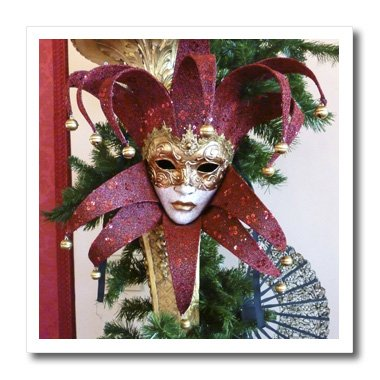 3dRose ht_37256_3 Red and Gold Vintage Mardi Gras Mask Iron on Heat Transfer for White Material, 10 by (Pics Of Mardi Gras Masks)