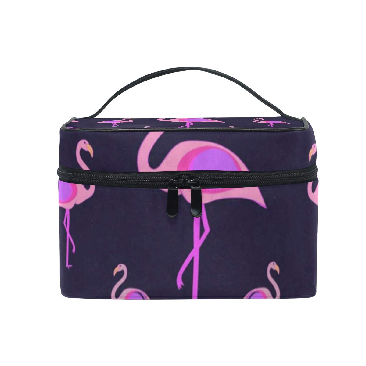 Cosmetic Bag Pink Cute Flamingos Womens Makeup Organizer Girls Toiletry Case Box Lazy Zip Bag