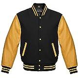 Premium New Letterman Baseball College School Varsity Jacket Wool Real Leather (Gold/Black, L)